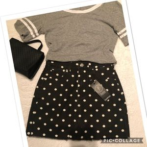 Boohoo Petite Denim Polka Dot Skirt